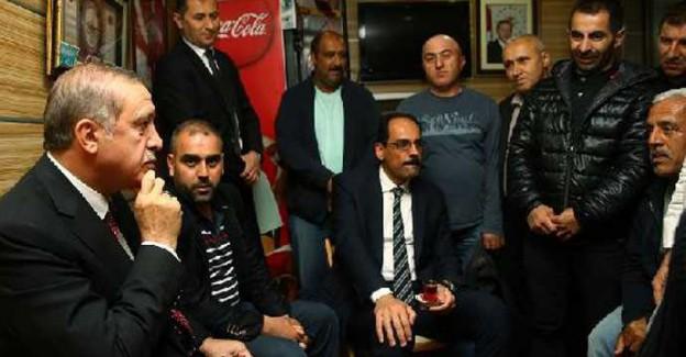 Cumhurbaşkanı Erdoğan, Minibüsçülerle Çay İçti