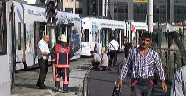 Dehşet! Kabataş-Bağcılar Tramvayı Raydan Çıktı! Seferler Durduruldu