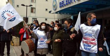 Avcılar Belediyesi Önünde Memurlardan Protesto