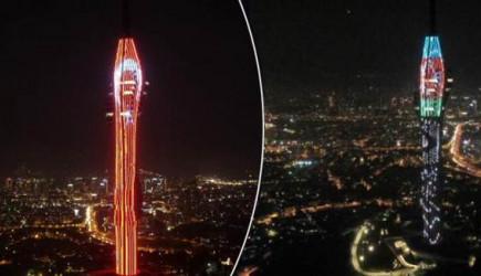 Çamlıca Kulesi'nde Işık Gösterisi Yapıldı
