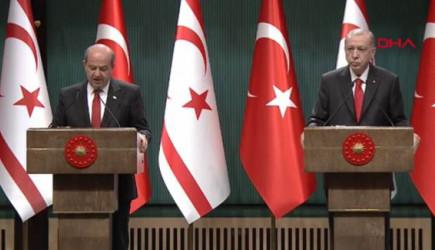 Cumhurbaşkanı Erdoğan Ve KKTC Cumhurbaşkanı Ersin Tatar Açıklamalarda Bulunuyor