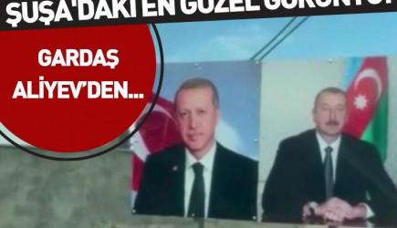 Şuşa'ya Cumhurbaşkanı Erdoğan ile İlham Aliyev'in Pankartları Asıldı
