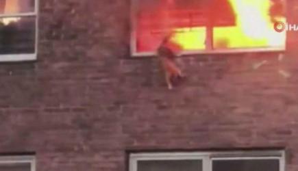 Yangında Kalan Kedi, Pencereden Atlayarak Kurtuldu