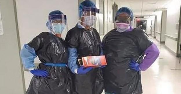 ABD'de Sağlık Personelleri Çöp Poşetlerinden Önlük Giyiyor