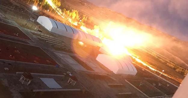 Sivas'ta Çıkan Yangın İlginç Görseller Oluşturdu