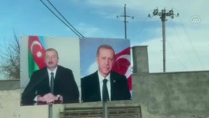 Şuşa Sokaklarında Cumhurbaşkanı Erdoğan'ın Resmi